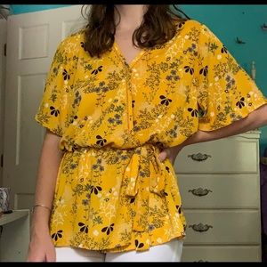 Yellow Floral Wrap Top